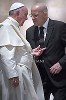 Pope Francis  Domenico Giani personal bodyguard the Pope.during his weekly general audience in St. Peter square at the Vatican, Wednesday.17 June 2015