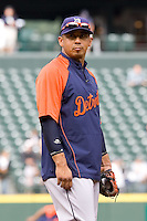 July 5, 2008: The Detroit Tigers' Carlos Guillen at third base during batting practice prior to a game against the Seattle Mariners at Safeco Field in Seattle, Washington.