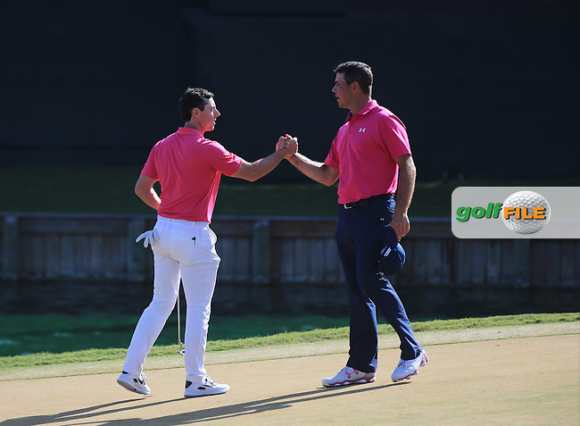 Rory McIlroy (NIR) and Gary Woodland during the Final round of The Players 2016 , TPC Sawgrass, Ponte Vedra Beach, Jacksonville.   Florida, USA. 15/05/2016.<br /> Picture: Golffile | Mark Davison<br /> <br /> <br /> All photo usage must carry mandatory copyright credit (&copy; Golffile | Mark Davison)