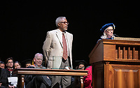 Wendy Sternberg, Vice President for Academic Affairs and Dean of the College presents Keith Naylor with The Linda and Tod White Teaching Prize.<br /> The class of 2023 are welcomed to Occidental College by trustees, faculty and staff in Thorne Hall on Aug. 27, 2019 during Oxy's 132th Convocation ceremony, a tradition that formally marks the start of the academic year and welcomes the new class.<br /> (Photo by Marc Campos, Occidental College Photographer)