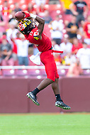 Landover, MD - September 1, 2018: Maryland Terrapins wide receiver Brian Cobbs (15) goes up to make the catch during game between Maryland and No. 23 ranked Texas at FedEx Field in Landover, MD. The Terrapins upset the Longhorns in back to back season openers with a 34-29 win. (Photo by Phillip Peters/Media Images International)