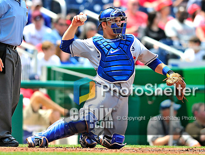 25 April 2010: Los Angeles Dodgers' catcher Russell Martin in action against the Washington Nationals at Nationals Park in Washington, DC. The Nationals shut out the Dodgers 1-0 to take the rubber match of their 3-game series. Mandatory Credit: Ed Wolfstein Photo
