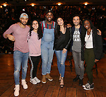 """Terrance Spencer, Gabriella Sorrentino, Deon'te Goodman, Lauren Boyd, Marc delaCruz and Johanna Moise during the Q & A before The Rockefeller Foundation and The Gilder Lehrman Institute of American History sponsored High School student #EduHam matinee performance of """"Hamilton"""" at the Richard Rodgers Theatre on 4/03/2019 in New York City."""