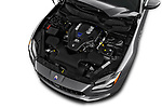 Car stock 2018 Maserati Quattroporte S 4 Door Sedan engine high angle detail view