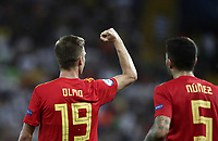 Spain's Dani Olmo, left, celebrates past his teammate Unai Nunez during the Uefa Under 21 Championship 2019 football final match between Spain and Germany at Udine's Friuli stadium, Italy, June 30, 2019. Spain won 2-1.<br /> UPDATE IMAGES PRESS/Isabella Bonotto