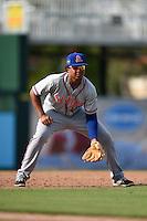 St. Lucie Mets third baseman Jhoan Urena (13) during a game against the Fort Myers Miracle on April 19, 2015 at Hammond Stadium in Fort Myers, Florida.  Fort Myers defeated St. Lucie 3-2 in eleven innings.  (Mike Janes/Four Seam Images)