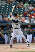 First baseman Jacob Gonzalez (18) of the Augusta GreenJackets bats in a game against the Columbia Fireflies on Saturday, June 1, 2019, at Segra Park in Columbia, South Carolina. Columbia won, 3-2. (Tom Priddy/Four Seam Images)