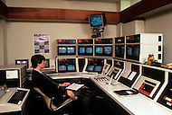 Silicon Valley, California - February 1983. A security and surveillance center at the ROLM factory where, among other things, computers for the US Army are manufactured. Silicon Valley is the largest high-tech manufacturing center in the United States, and is the region most famous for innovations in software and Internet services.