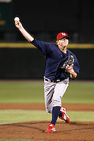 Lehigh Valley IronPigs pitcher Justin De Fratus #16 delivers a pitch during a game against the Rochester Red Wings at Frontier Field on August 18, 2011 in Rochester, New York.  Lehigh Valley defeated Rochester 11-1.  (Mike Janes/Four Seam Images)