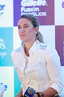 ATENÇÃO EDITOR: FOTO EMBARGADA PARA VEÍCULOS INTERNACIONAIS. SAO PAULO, SP, 06 DE DEZEMBRO DE 2012. APRESENTAÇÃO DO TORNEIO GILLETTE FEDERER TOUR.  a tenista Victoria Azarenka durante a apresentação do novo torneio Gillette Federer Tour,  na manhã desta quinta feira na zona sul da capital paulista. O Gillette Federer Tour reunirá, durante quatro dias, o melhor do tênis mundial, no Ginásio do Ibirapuera, de 6 a 9 de dezembro, com a participação de grandes estrelas como Roger Federer, Tommy Haas, Thomaz Bellucci, Jo-Wilfried Tsonga, Tommy Robredo, Victoria Azarenka, Maria Sharapova, Serena Williams, Caroline Wozniacki, Bob e Mike Bryan e Marcelo Melo e Bruno Soares.  FOTO ADRIANA SPACA - BRAZIL PHOTO PRESS
