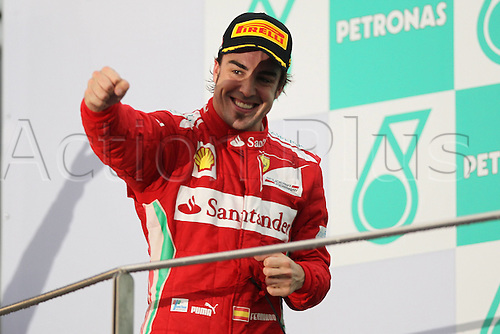 25.03.2012. Kuala Lumpur Malaysia.   FIA Formula One World Championship 2012 Grand Prix of Malaysia 5 Fernando Alonso ESP Scuderia Ferrarion the winners podium