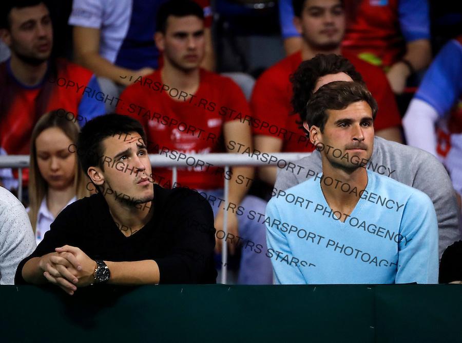 Tennis Tenis<br /> Davis Cup First round<br /> Srbija-Rusija<br /> Nenad Zimonjic and Viktor Troicki (SRB)-Konstantin Kravchuk and Andrey Kuznetsov (RUS) <br /> Djordje Djokovic (L) and Marko Djokovic<br /> foto: Srdjan Stevanovic/Starsportphoto &copy;