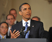 """Washington, D.C. - June 1, 2009 -- United States President Barack Obama makes remarks on the General Motors restructuring in the Grand Foyer of the White House in Washington, D.C. on Monday, June 1, 2009.  In his remarks, the President stated """"working with my Auto Task Force, GM and its stakeholders have produced a viable, achievable plan that will give this iconic American company a chance to rise again""""..Credit: Ron Sachs / CNP"""