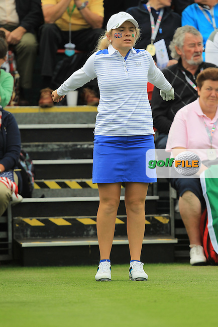 Bronte Law warming up on the 1st tee during the Friday morning Foursomes of the 2016 Curtis Cup at Dun Laoghaire Golf Club on Friday 10th June 2016.<br /> Picture:  Golffile | Thos Caffrey