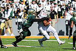 Texas Longhorns running back Chris Warren III (25) in action during the game between the Texas Longhorns and the Baylor Bears at the McLane Stadium in Waco, Texas.