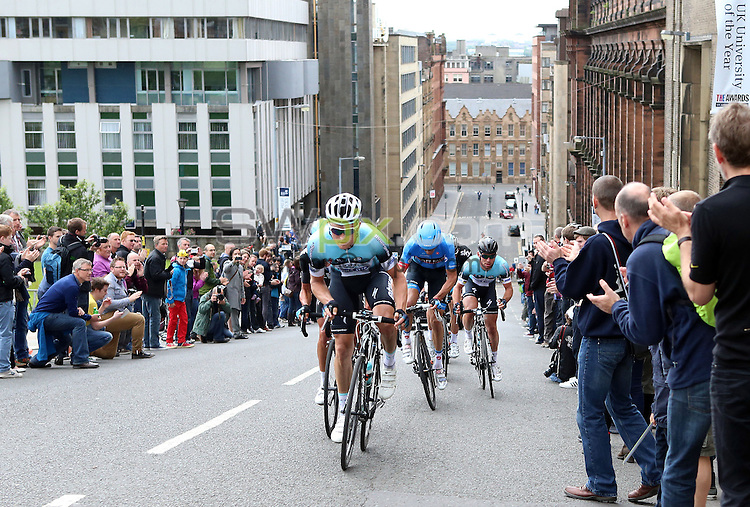 PICTURE BY VAUGHN RIDLEY/SWPIX.COM - Cycling - 2013 British Cycling National Road Race Championships - Glasgow, Scotland - 23/06/13 - Andrew Fenn of Omega Pharma Quickstep leads David Millar of Garmin-Sharp and teammate Mark Cavendish up Montrose Street.