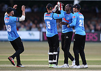 Jofra Archer of Sussex celebrates with his team mates after taking the wicket of Adam Wheater during Essex Eagles vs Sussex Sharks, Vitality Blast T20 Cricket at The Cloudfm County Ground on 4th July 2018