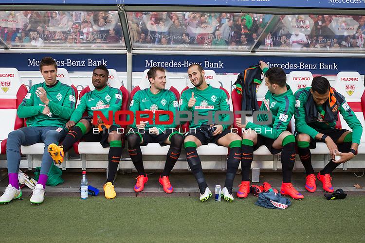 12.04.2015, Mercedes Benz Arena, Stuttgart, GER, 1.FBL,  VFB Stuttgart vs. SV Werder Bremen, im Bild die Bremer Auswechselbank v.li. Koen Casteels (Bremen #20)<br /> C&eacute;dric Makiadi (Bremen #6)<br /> Izet Hajrovic (Bremen #14)<br /> Alejandro Galvez (Bremen #4)<br /> Levin &Ouml;ztunali / Oeztunali (Bremen #11)<br /> Davie Selke (Bremen #27)<br /> <br />  Foto &copy; nordphoto / Straubmeier