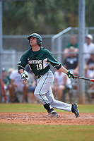 Michigan State Spartans second baseman Kory Young (19) at bat during a game against the Illinois State Redbirds on March 8, 2016 at North Charlotte Regional Park in Port Charlotte, Florida.  Michigan State defeated Illinois State 15-0.  (Mike Janes/Four Seam Images)