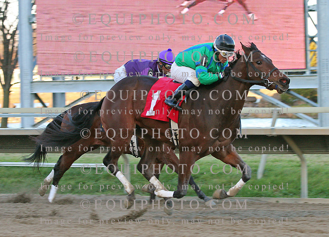 Turbo Speed #1 with David Cora riding won the $75,000 Pennsylvania Nursery Stakes at Philadelphia Park in Bensalem, Pennsylvania November 28, 2009. Second place went to #6 El Rocco, Kendrick Carmouche up, on the inside.   Photo By Alyssa Spakowski/EQUI-PHOTO