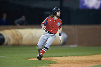 Evan Pietronico (4) of the NJIT Highlanders pulls up as he rounds third base during the game against the High Point Panthers at Williard Stadium on February 18, 2017 in High Point, North Carolina. The Highlanders defeated the Panthers 4-2 in game two of a double-header. (Brian Westerholt/Four Seam Images)
