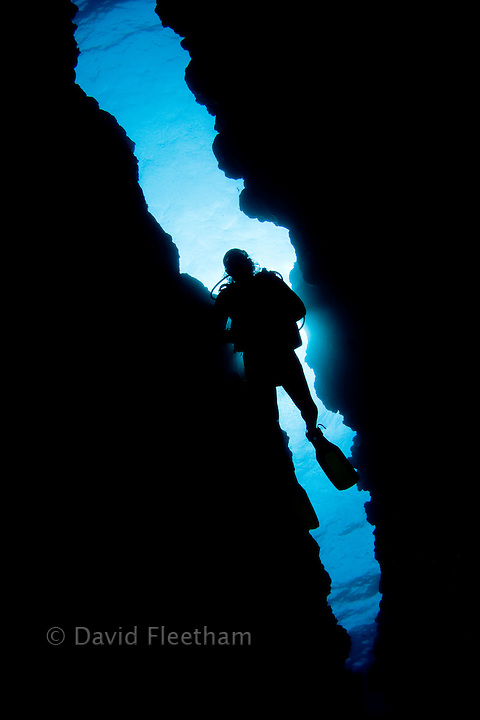 Diver (MR) swimming overhead through a reef canyon, Yap, Micronesia.