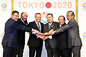 Gilbert Felli IOC Executive Director for the Olympic Games,<br /> Alex Gilady IOC member,<br /> John Coates IOC Vice President, <br />  Yoshiro Mori, <br />  Toshiro Muto, <br />  IOCTsunekazu Takeda, <br /> APRIL 4, 2014 : Joint press conference in The Tokyo Organizing Committee of the Olympic and Paralympic Games (TOCOG) members and IOC committee members was held in the Shinagawa Prince Hotel in Tokyo, Japan. (Photo by AFLO SPORT)