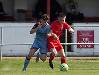 Jack Taylor of Flackwell Heath & Kieran Alder of Tuffley Rovers during the UHLSport Hellenic Premier League match between Flackwell Heath v Tuffley Rovers at Wilks Park, Flackwell Heath, England on 20 April 2019. Photo by Andy Rowland.