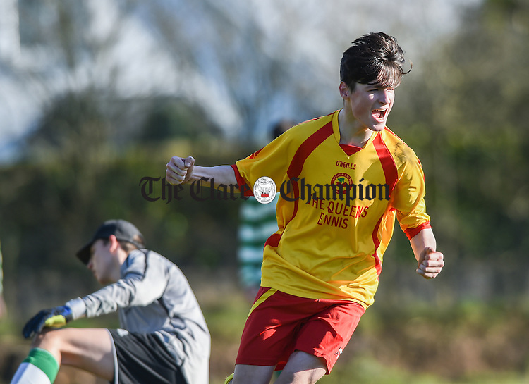 Mark Mc Inerney of Avenue celebrates his equalising goal late in the first half against  Villa, Waterford during their  FAI U-17 cup  semi-final in Roslevan. Photograph by John Kelly.
