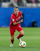 GRENOBLE, FRANCE - JUNE 15: Jessie Fleming #17 of the Canadian National Team on the attack during a game between New Zealand and Canada at Stade des Alpes on June 15, 2019 in Grenoble, France.