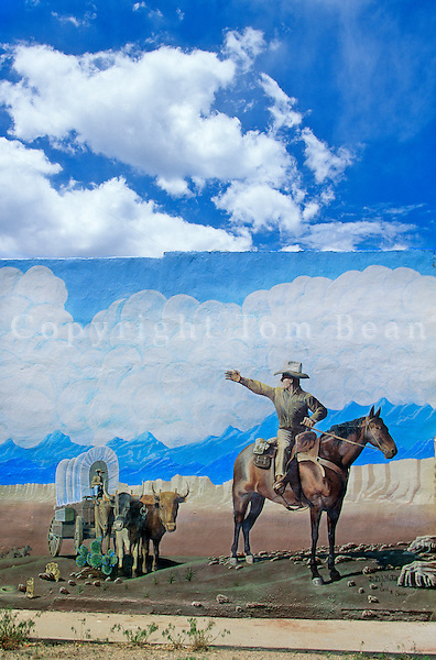 Mural of Santa Fe Trail painted on wall of Springer Drug Store in Springer, New Mexico, AGPix_0288.