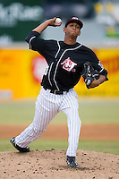 Rafael De Los Santos (43) of the Hickory Crawdads in action versus the Charleston RiverDogs at L.P. Frans Stadium in Hickory, NC, Sunday, May 4, 2008.