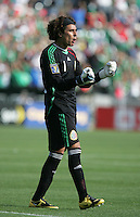 Guillermo Ochoa celebrates the second Mexico goal. Mexico defeated Nicaragua 2-0 during the First Round of the 2009 CONCACAF Gold Cup at the Oakland Coliseum in Oakland, California on July 5, 2009.