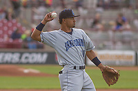 Lake County Captains infielder Ordomar Valdez (11) warms up prior to a Midwest League game against the Wisconsin Timber Rattlers on June 3rd, 2015 at Fox Cities Stadium in Appleton, Wisconsin. Wisconsin defeated Lake County 3-2. (Brad Krause/Four Seam Images)