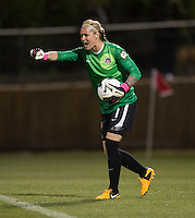 Ashlyn Harris (1) of the Washington Spirit yells to her team during the game at the Maryland SoccerPlex in Boyds, MD.  Washington tied Western NY, 1-1.