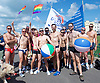 Brighton Pride 2017 <br /> Brighton Seafront and through the town towards Preston Park. <br /> East Sussex, Great Britain <br /> 5th August 2017 <br /> <br /> Brighton Pride <br /> Out to Swim <br /> <br /> Photograph by Elliott Franks <br /> Image licensed to Elliott Franks Photography Services
