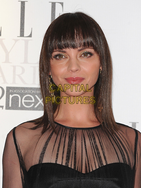 Christina Ricci.'Elle Style Awards 2012' at The savoy Hotel, London, England..13th February 2012.headshot portrait fringe bangs hair black sheer  .CAP/BEL.©Tom Belcher/Capital Pictures.