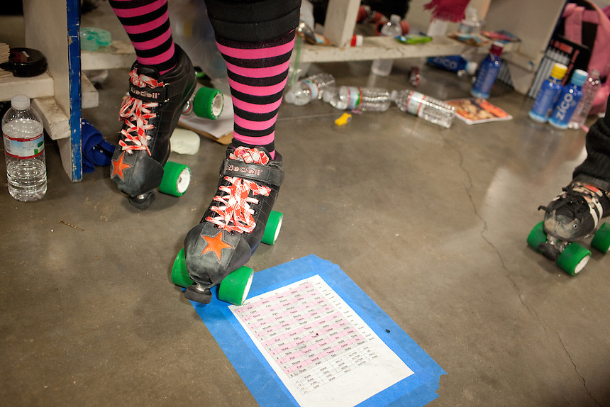 Detail at the Hellcats' bench during their bout against Putas del Fuego at Palmer Events Center in Austin, Texas.