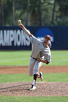 Andrew Vinson (10) of the Texas A&M Aggies pitches against the Pepperdine Waves at Eddy D. Field Stadium on February 26, 2016 in Malibu, California. Pepperdine defeated Texas A&M, 7-5. (Larry Goren/Four Seam Images)