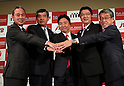 October 17, 2016, Tokyo, Japan - (L-R) Japan Airlines executive officer Jun Kato, Nippon Express president Kenji Watanabe, Fun Japan Communications president Daisuke Fujii, JTB president Hiroyuki Takahashi and Mitsukoshi-Isetan Holdings president Hiroshi Onishi shake their hands at a press conference to form a new company Fun Japan Communications in Tokyo on Monday, October 17, 2016. Fun Japan Communications is the digital marketing company for tourists mainly target of Taiwan and ASEAN countries.   (Photo by Yoshio Tsunoda/AFLO) LWX -ytd-