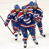 Chad Ruhwedel (UML - 3), Riley Wetmore (UML - 16), Ryan McGrath (UML - 10) - The University of Massachusetts Lowell River Hawks defeated the Boston College Eagles 4-2 (EN) on Tuesday, February 26, 2013, at Kelley Rink in Conte Forum in Chestnut Hill, Massachusetts.