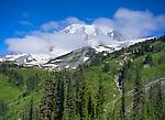 Mount Rainier National Park, WA: Morning clouds on Mount Rainier
