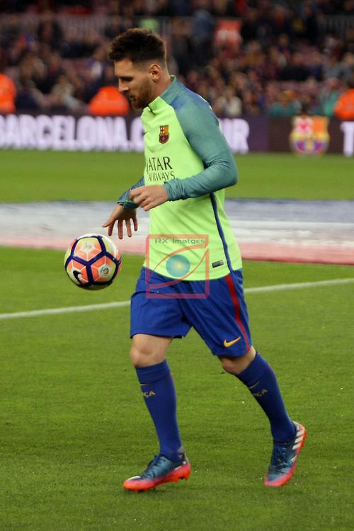League Santander 2016/2017. Game: 28.<br /> FC Barcelona vs Valencia CF: 4-2.<br /> Lionel Messi.