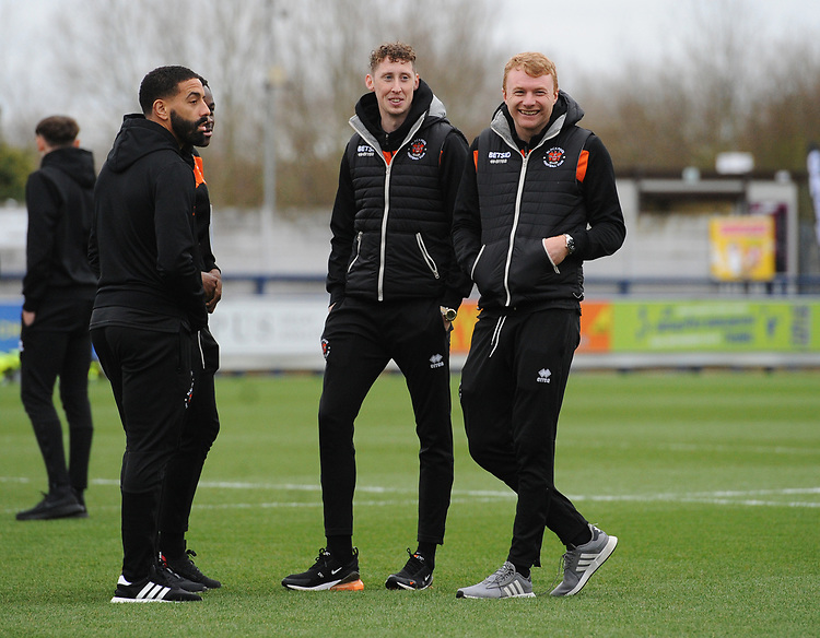Blackpool's Liam Feeney, Marc Bola, Joe Bunney and Chris Taylor<br /> <br /> Photographer Kevin Barnes/CameraSport<br /> <br /> The EFL Sky Bet League One - AFC Wimbledon v Blackpool - Saturday 29th December 2018 - Kingsmeadow Stadium - London<br /> <br /> World Copyright © 2018 CameraSport. All rights reserved. 43 Linden Ave. Countesthorpe. Leicester. England. LE8 5PG - Tel: +44 (0) 116 277 4147 - admin@camerasport.com - www.camerasport.com