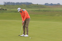 Eugene Smith (Links Portmarnock) on the 1st green during Round 1 of The East of Ireland Amateur Open Championship in Co. Louth Golf Club, Baltray on Saturday 1st June 2019.<br /> <br /> Picture:  Thos Caffrey / www.golffile.ie<br /> <br /> All photos usage must carry mandatory copyright credit (© Golffile | Thos Caffrey)