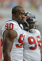 Aug 18, 2007; Glendale, AZ, USA; Houston Texans defensive end Mario Williams (90) against the Arizona Cardinals at University of Phoenix Stadium. Mandatory Credit: Mark J. Rebilas-US PRESSWIRE Copyright © 2007 Mark J. Rebilas
