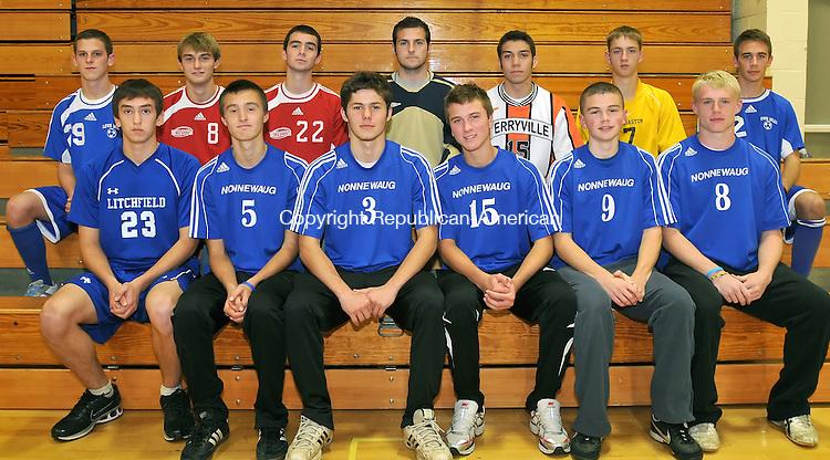 THOMASTON, CT-18 NOVEMBER 2009-111809JS03-Members of the Berkshire League Boys Soccer All-Star team, front row, from left, Will Austin-Litchfield;  Andrew Huntley-Nonnewaug; Ivan Krayniy-Nonnewaug; Cody St. John-Nonnewaug; Sean Dinallo-Nonnewaug and Bryce Lawlor-Nonnewaug. Back row, from left, Evan Olson-Lewis Mills; Rob Hollis; Northwestern; Ryan Rood-Northwestern; Russ Dougan-Northwestern; Ronny Bilodeau-Terryville; Nick Russo-Thomaston and Scott Boucher-Lewis Mills. <br /> Jim Shannon Republican-American