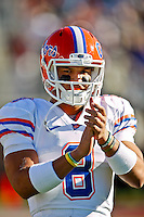 November 27, 2010:    Florida Gators quarterback Trey Burton (8) warms up prior to the start of the game between the ACC Conference Florida State Seminoles and the SEC Conference University of Florida Gators at Doak Campbell Stadium in Tallahassee, Florida.