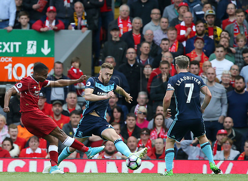 May 21st 2017, Anfield, Liverpool, Merseyside; EPL Premier league football, Liverpool versus Middlesbrough; Daniel Sturridge of Liverpool  fires a right footed shot at goal as Patrick Bamford of Middlesbrough tries to block