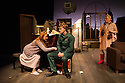 London, UK. 17.07.2014. Mountview Academy of Theatre Arts presents THE HOUSE OF BLUE LEAVES, by John Guare, directed by Jacqui Somerville, at the Unicorn Theatre, as part of the Postgraduate Season 2014. Picture shows: Rosalinde Case (Bananas Shaughnessy), Tim Gibson (Artie Shaughnessy) and Cat Losty (Bunny Flingus). Photograph © Jane Hobson.